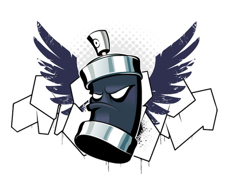 Cool can with wings on graffiti background Stock Vector - 6189011
