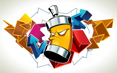 Cool graffiti image with can Stock Vector - 6189059
