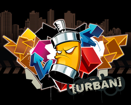 Cool graffiti image with can Stock Vector - 6189067