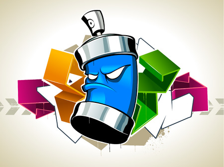 Cool graffiti image with can Stock Vector - 6188976