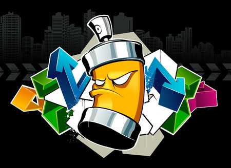 Cool graffiti image with can Vector