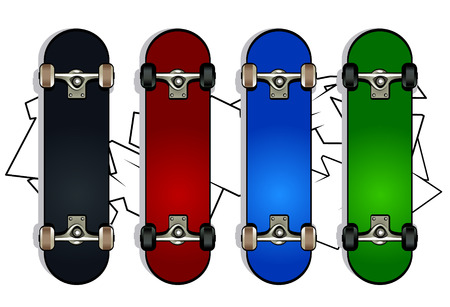 Set of skateboards on white graffiti background Illustration