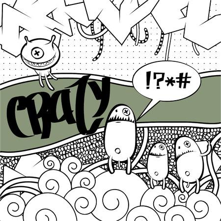 Strange graffiti image witt place for your text Illustration