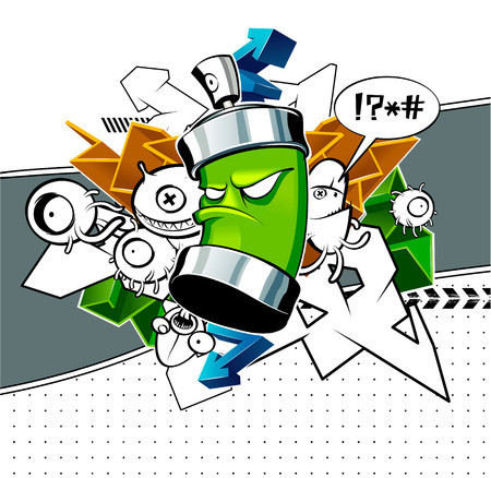 graffiti: Strange graffiti image with can