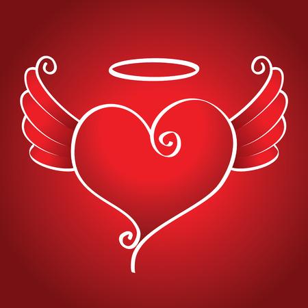 corazon con alas: Coraz�n amable con alas vuela sobre un fondo rojo Vectores