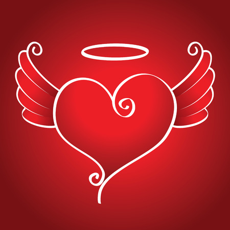 kind: Kind heart with wings flies on a red background Illustration