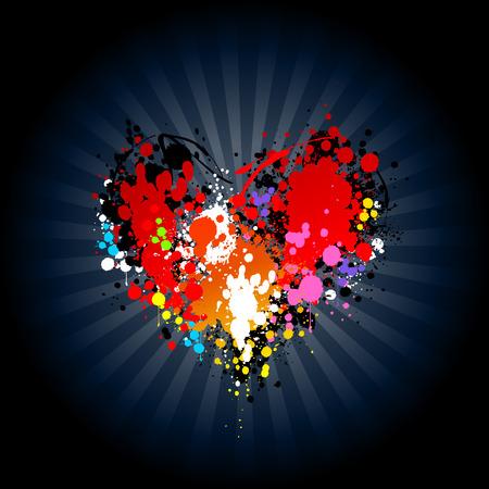 splodge: Bright ink splash in heart shape. Vector illustration.