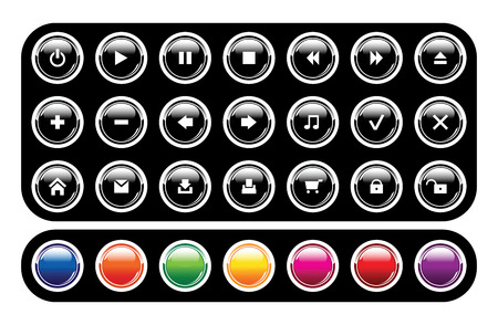 Set of glossy icons on black background Stock Vector - 6198506