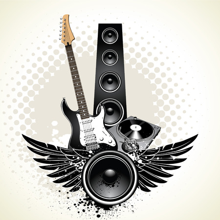 Speaker with wings and instruments on grunge background