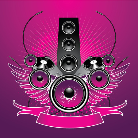Speaker with wings and equipment on grunge background Vector