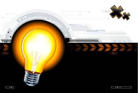 bulb idea: High technology background with the lamp Illustration