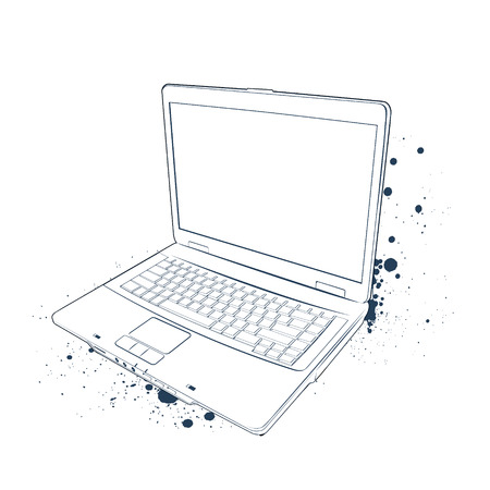 Sketch of laptop on white background