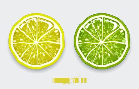 Limón cortado sobre fondo moderno