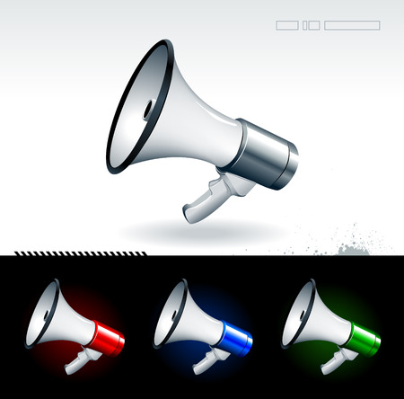 Just set of realistic megaphones Stock Vector - 6198491