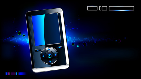 Realistic mp3 player on modern background Vector