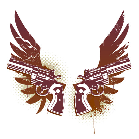 pistol: Abstract rock-n-roll image with two revolvers and wings