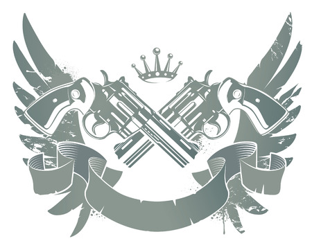 Abstract rock-n-roll image with two revolvers and wings