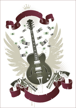 Abstract rock-n-roll image with two revolvers, guitar, ribbon and money Vector