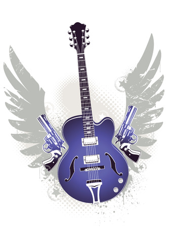 Abstract rock-n-roll image with two revolvers, guitar and wings Stock Vector - 6198534