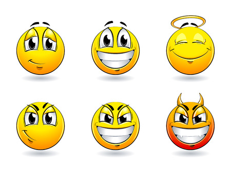 the tempter: Set of pretty smiles-balls. Vector illustration. Illustration