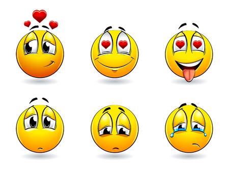 feeling positive: Conjunto de bolas de sonrisas bonitas. Ilustraci�n vectorial.