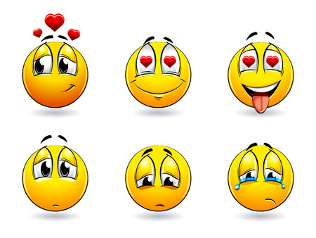 good feeling: Set of pretty smiles-balls. Vector illustration. Illustration