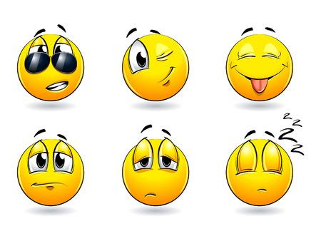 feeling good: Set of pretty smiles-balls. Vector illustration. Illustration