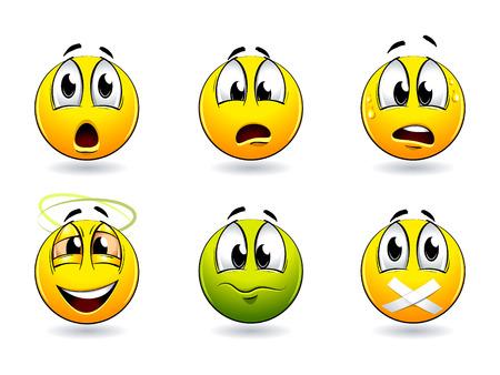 Conjunto de bonitas sonrisa-bolas. Ilustración vectorial.