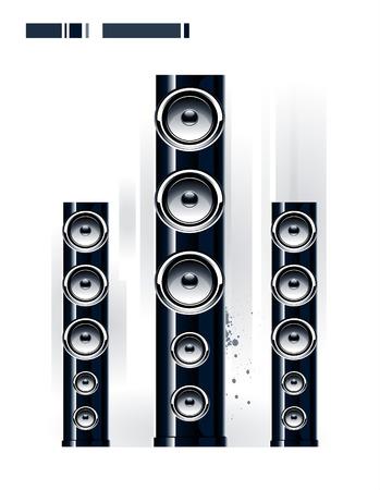 sound system: Sistema de sonido brillante sobre fondo blanco  Vectores