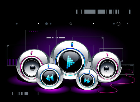 high volume: High tech sound system on modern background Illustration