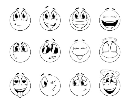 good feeling: Set of positive smiles-balls. Sketch version. Vector illustration.