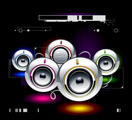 high volume: Set of high tech speakers Illustration