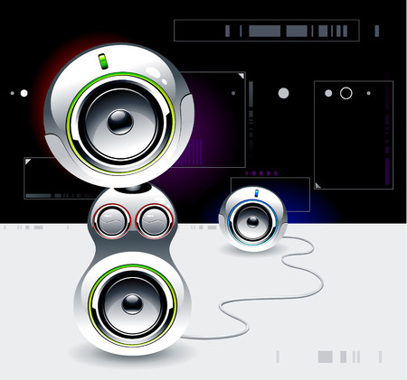High tech sound system on futuristic background Vector