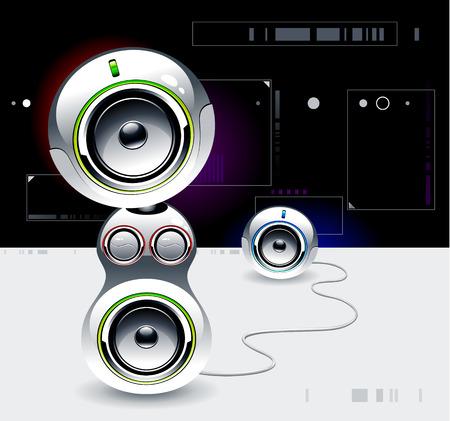 sound system: Sistema de sonido de alta tecnolog�a sobre fondo futurista