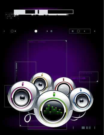 High tech sound system on modern background Vector