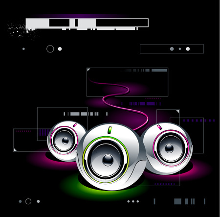 High tech speakers on modern background Vector