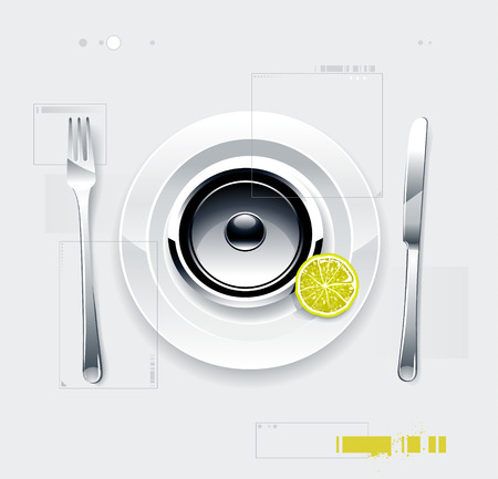 high volume: Glossy speaker on a plate