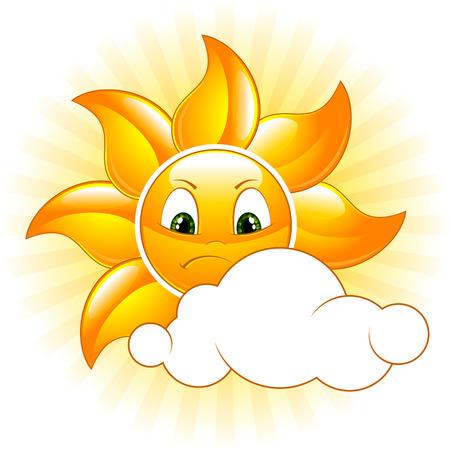 sun vector: Cartoon gloomy sun. Vector illustration.
