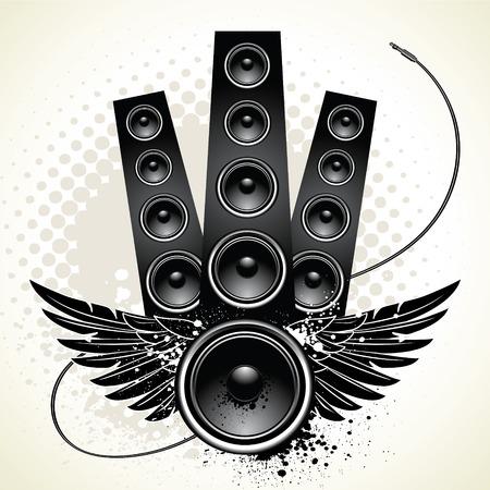input device: Altavoces con alas y alambre sobre fondo de grunge