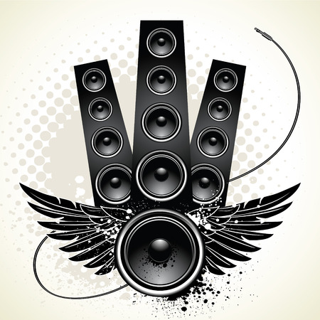 decibel: Speakers with wings and wire on grunge background