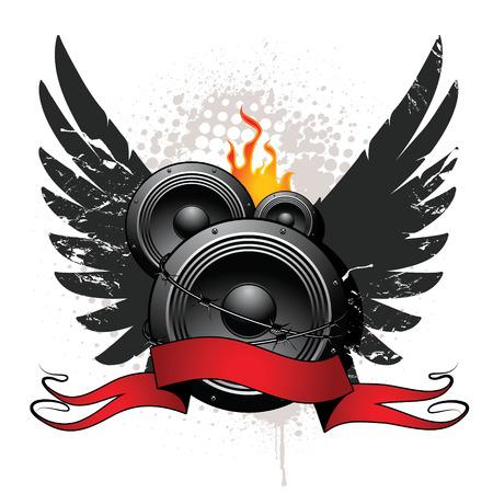 Speakers, wings, ribbon on grunge background Vector
