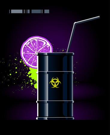 toxic barrels: Black barrel with lemon and tubule. Image of pollution.