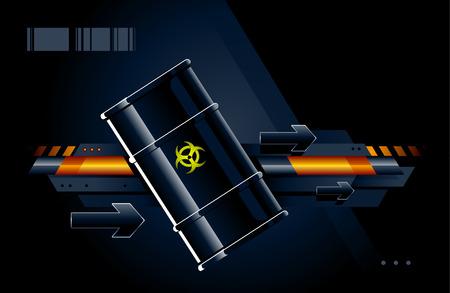 Black barrel on modern background. Vector illustration. Stock Vector - 6302072