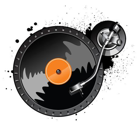 party dj: Plaque tournante sur fond blanc avec gouttes Illustration