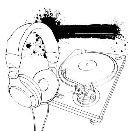 Headphones and turntable on a white background with blots Vector
