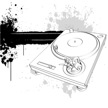Turntable on white background with drops