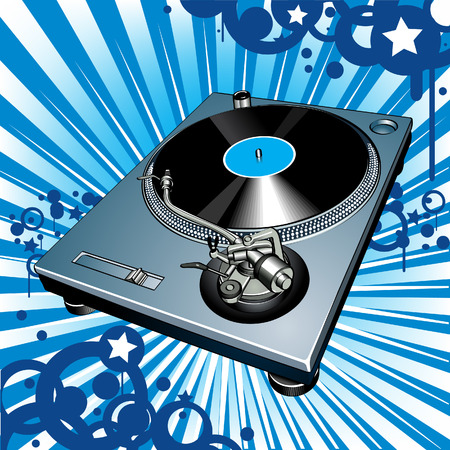 Turntable on blue background