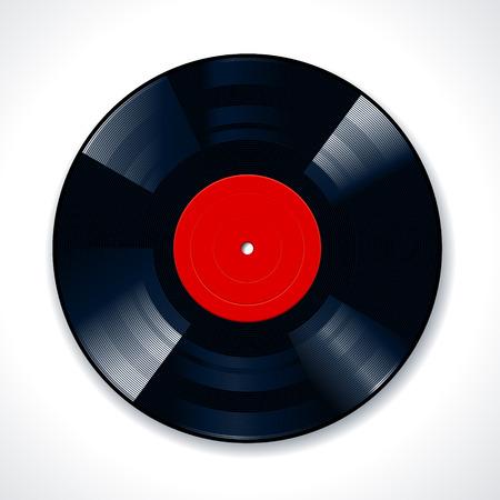 disc: Vinyl disc on white background. Vector illustration.