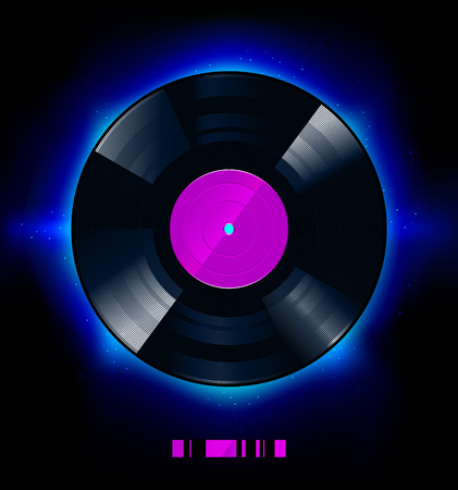 music dj: Vinyl disc on black background. Vector illustration.