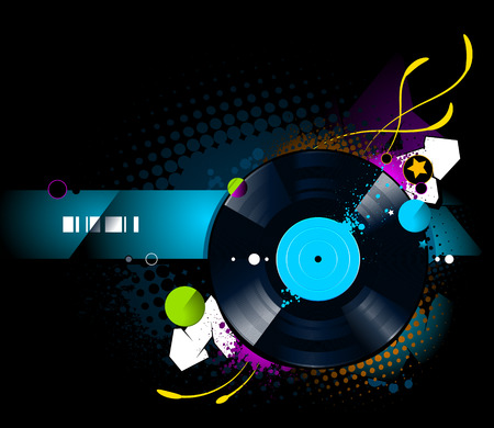 Graffiti image with vinyl disc on  black background. Vector illustration. Vector